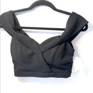 Xtraordinary Black Off-Shoulder Crop Top Bustier